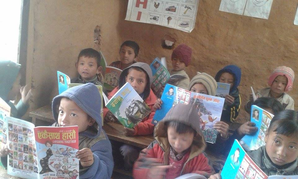 Book distribution at Shree Janagaran Primary School- Adhikari Chaur