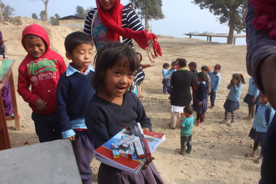 Happy school children in Gorkha